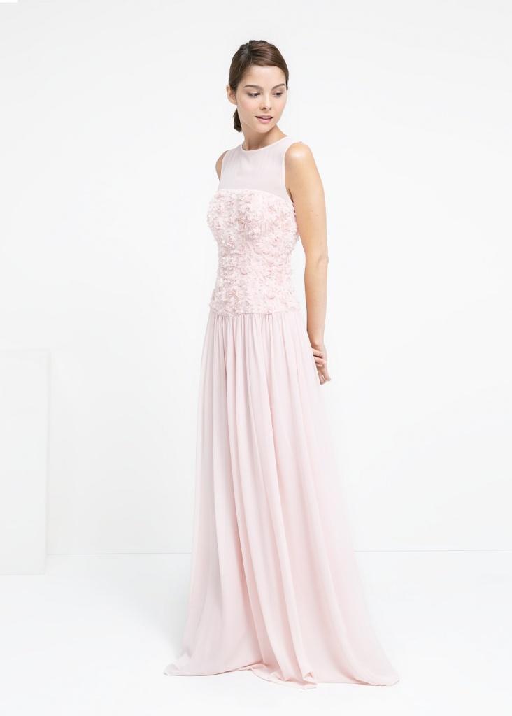 Robe longue mango pour bal de promotion rose pale sans manche