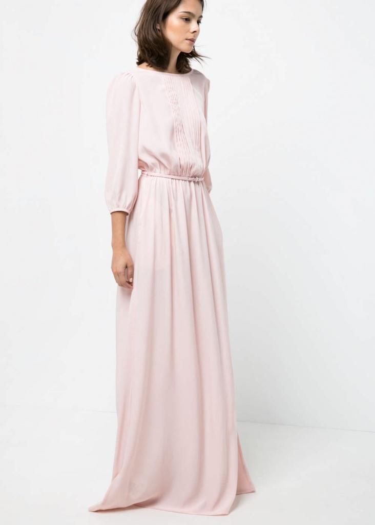 Robe longue mango rose tres pastel manches longues
