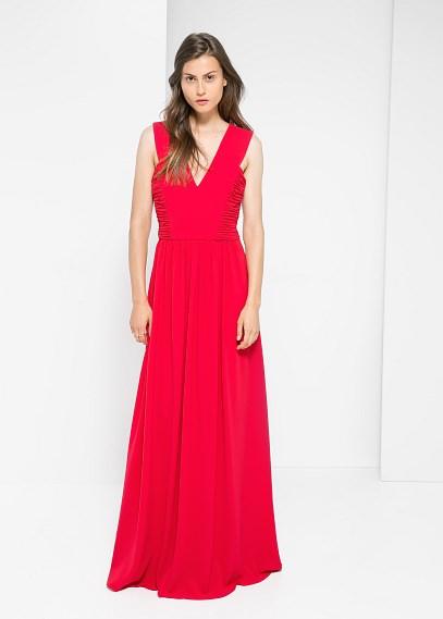 Robe longue mango rouge rose sans manche