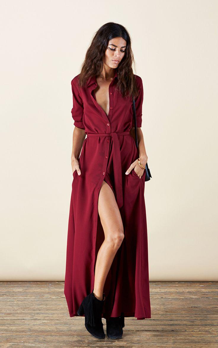 robe longue rouge bordeaux boutonnee la robe longue. Black Bedroom Furniture Sets. Home Design Ideas