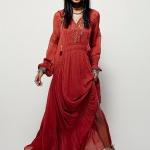 Robe longue rouge brique manches longues esprit indien