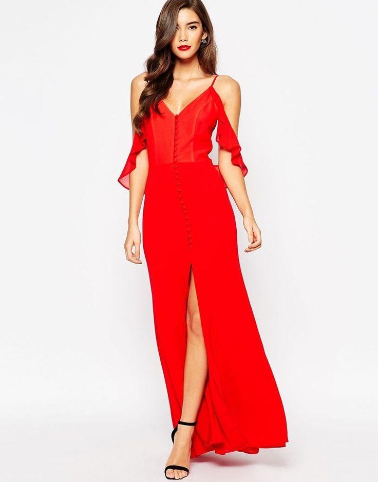 Robe longue rouge doubles bretelles tombantes fendue genoux