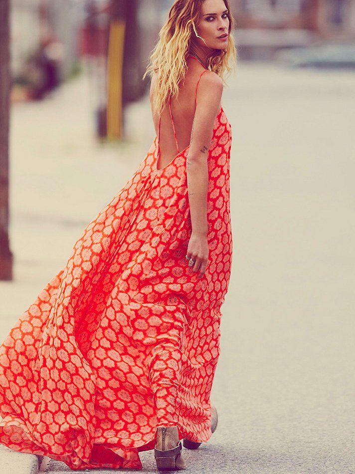 Robe longue rouge et orange tres fluide pour ete