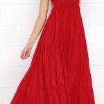 Robe longue rouge ete petites bretelles fines tres fluide