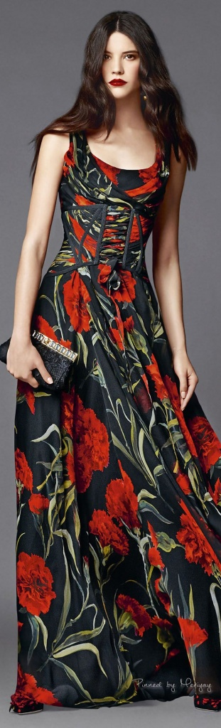 Robe longue rouge fond noir imprime coquelicot