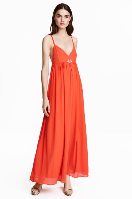 Robe longue rouge hm orange corail