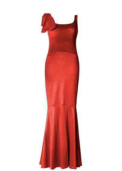Robe longue rouge mango haussmann manches asymeytriques