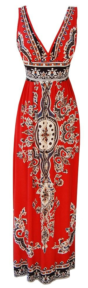 Robe longue rouge motif indien