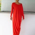 Robe longue rouge orange fluide manches longues