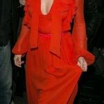 Robe longue rouge orange manche longue soiree selena gomez