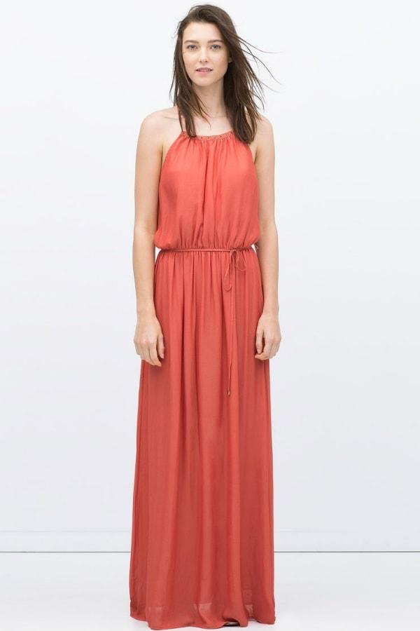 Robe longue rouge pastel zara sans manche