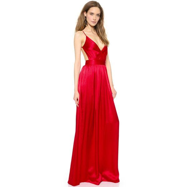 Robe longue rouge satinee et fines bretelles dos nu