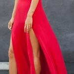 Robe longue rouge tres fluide pour ete fendue haut sur chaque cuisse