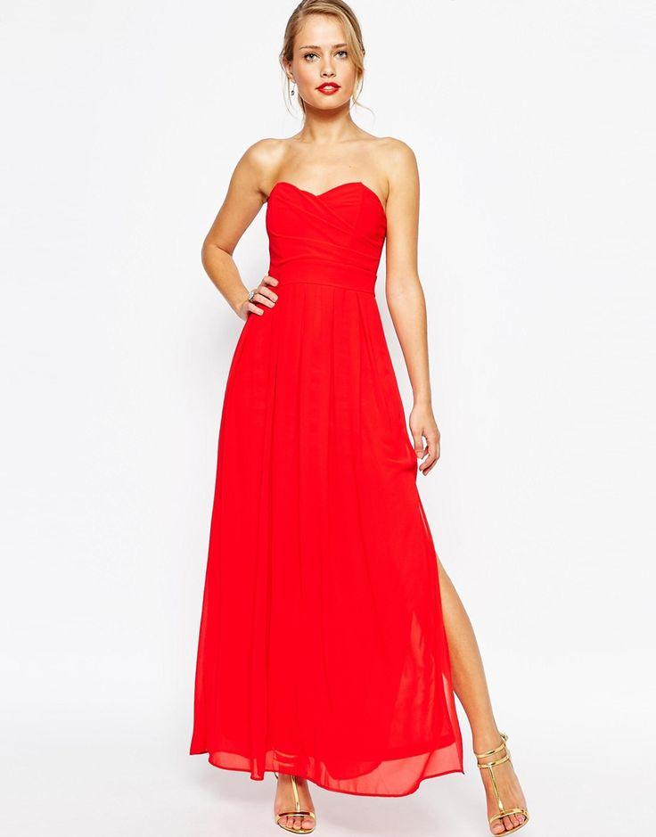Robe longue rouge tres vif bustier et fendue cote mollet