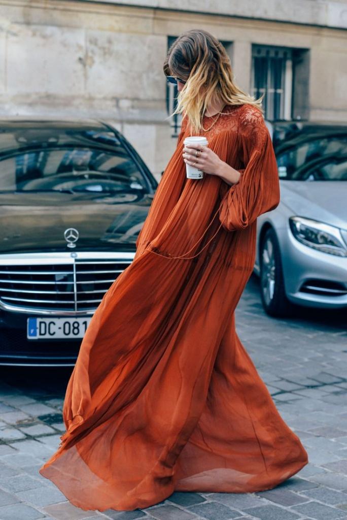 Robe longue tres fluide voile brique orange rouge