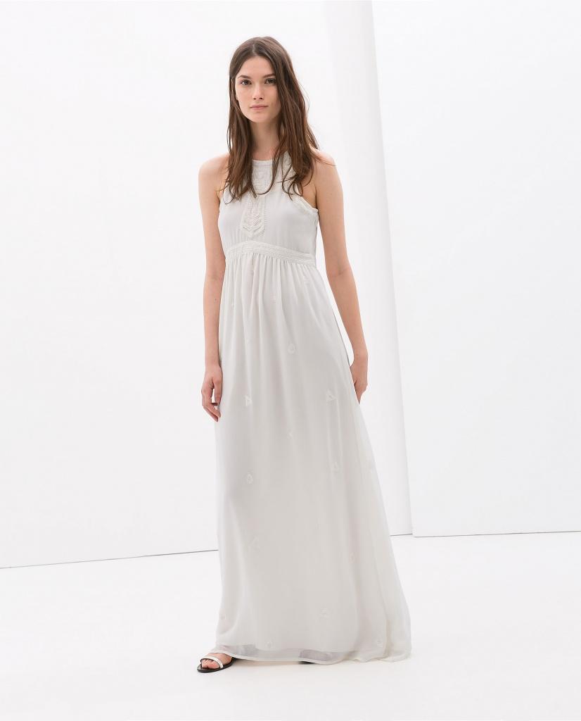 Robe longue zara blanche habillee