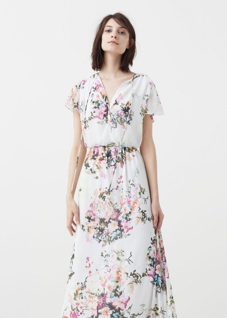 Robe mango longue fluide ete 2016 fleuri fond blanc