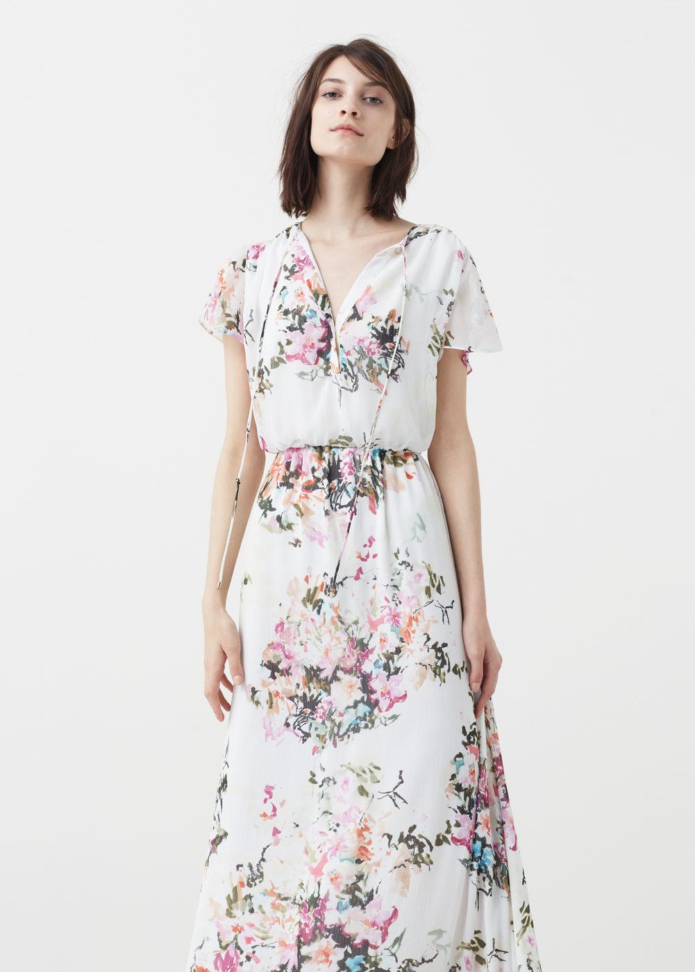 ea08ccc7d0e7 Robe mango longue fluide ete 2016 fleuri fond blanc - la robe longue