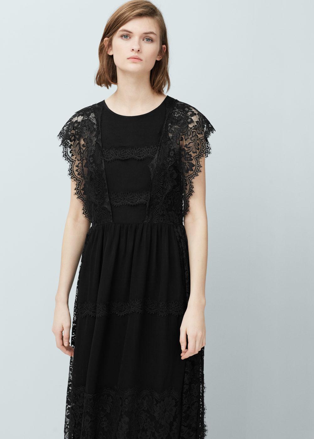 La robe longue en dentelle noir ou crème Nina sur Bustiers