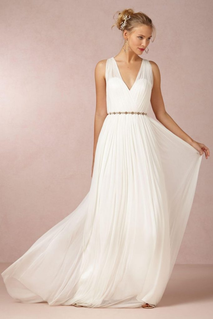 Robe maxi longue pour mariage blanche avec fine ceinture