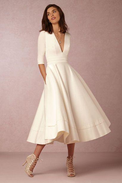 53a2e61422 Robe mi longue blanc creme fluide mi manche - la robe longue