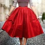 Robe mi longue jupon rouge en volume satine et haut raye