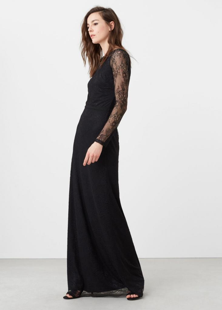 4a22aff62ef Robe noire longue mango dentelle sur manche - la robe longue
