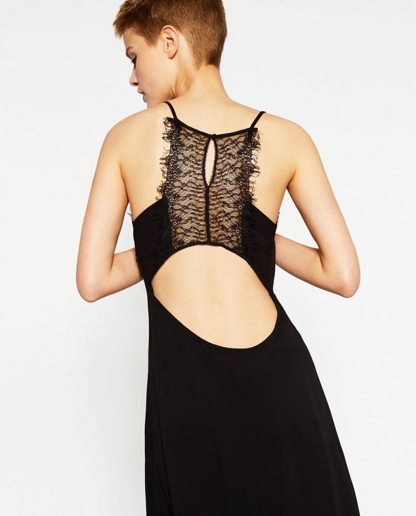 Robe noire longue zara dentelle joli decollete dos