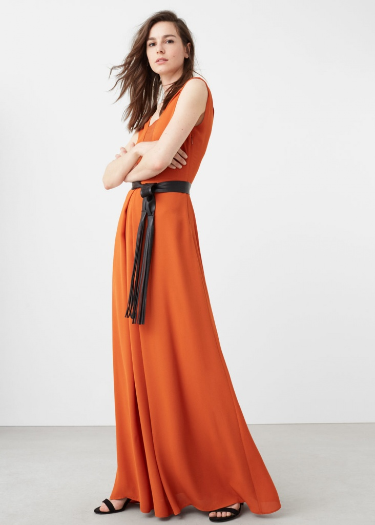 Robe orange mango maxi longue lavalliere