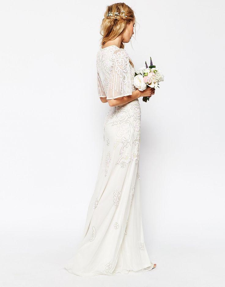 Robe pour mariage longue blanche dentelle anglaise manche mi longue