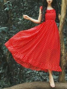 Robe rouge femme longue