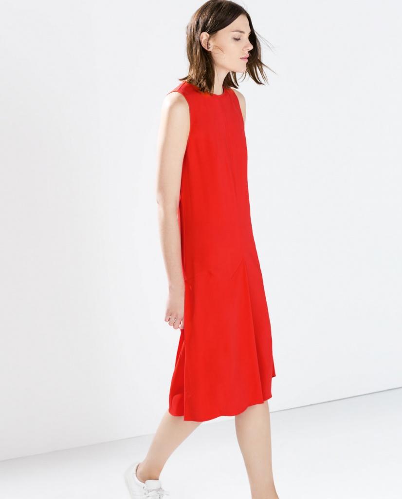 Robe Rouge Mi Longue Zara Coupe Droite La Robe Longue