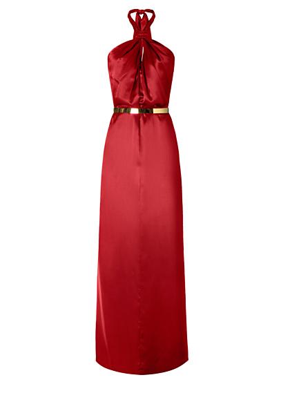 Robe rouge satine longue chaine mango