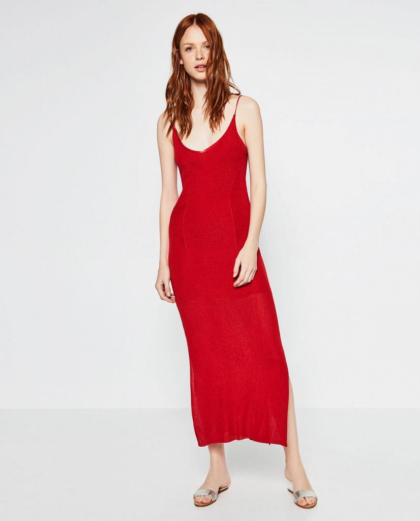 Robe rouge zara longue a fines bretelles