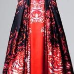 Robe soiree jupe rougehaut noir facon chemisier manche longue