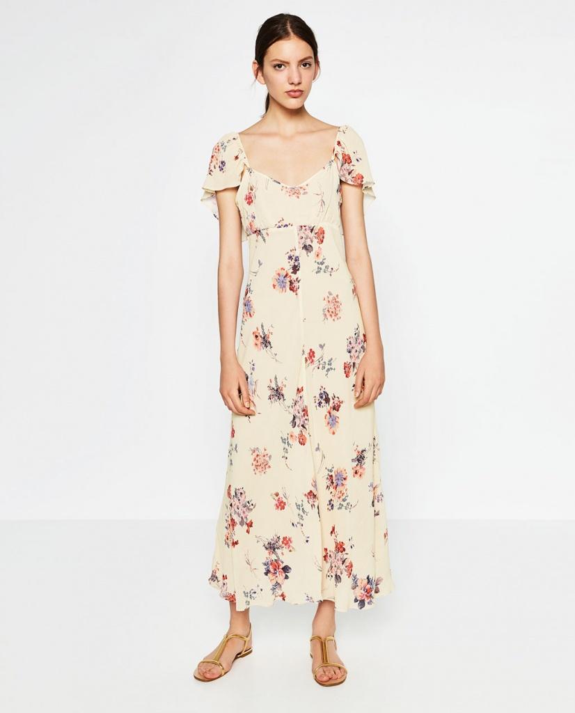 Robe zara longue imprime floral fond beige