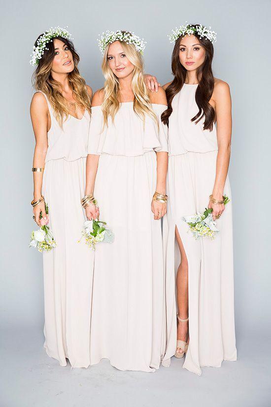 Robes blanches longues pour demoiselles d honneur