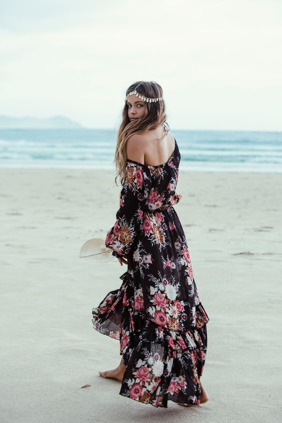 Adorable robe longue floral hippie boho