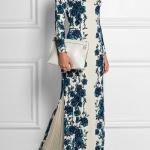 Robe a fleur blanche et bleu symetrique manches longues