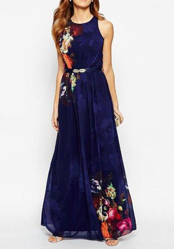 Robe a fleur haut droit et bas gauche fond bleu violet