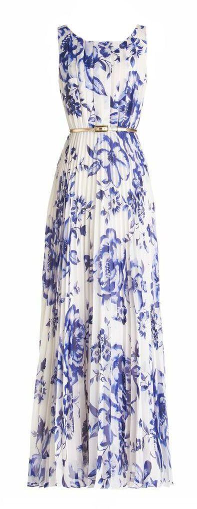 Robe blanche a fleurs bleues avec ceinture pour cocktail ou mariage