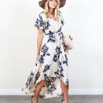 Robe fleurie ete asymetrique plus courte devant blanche