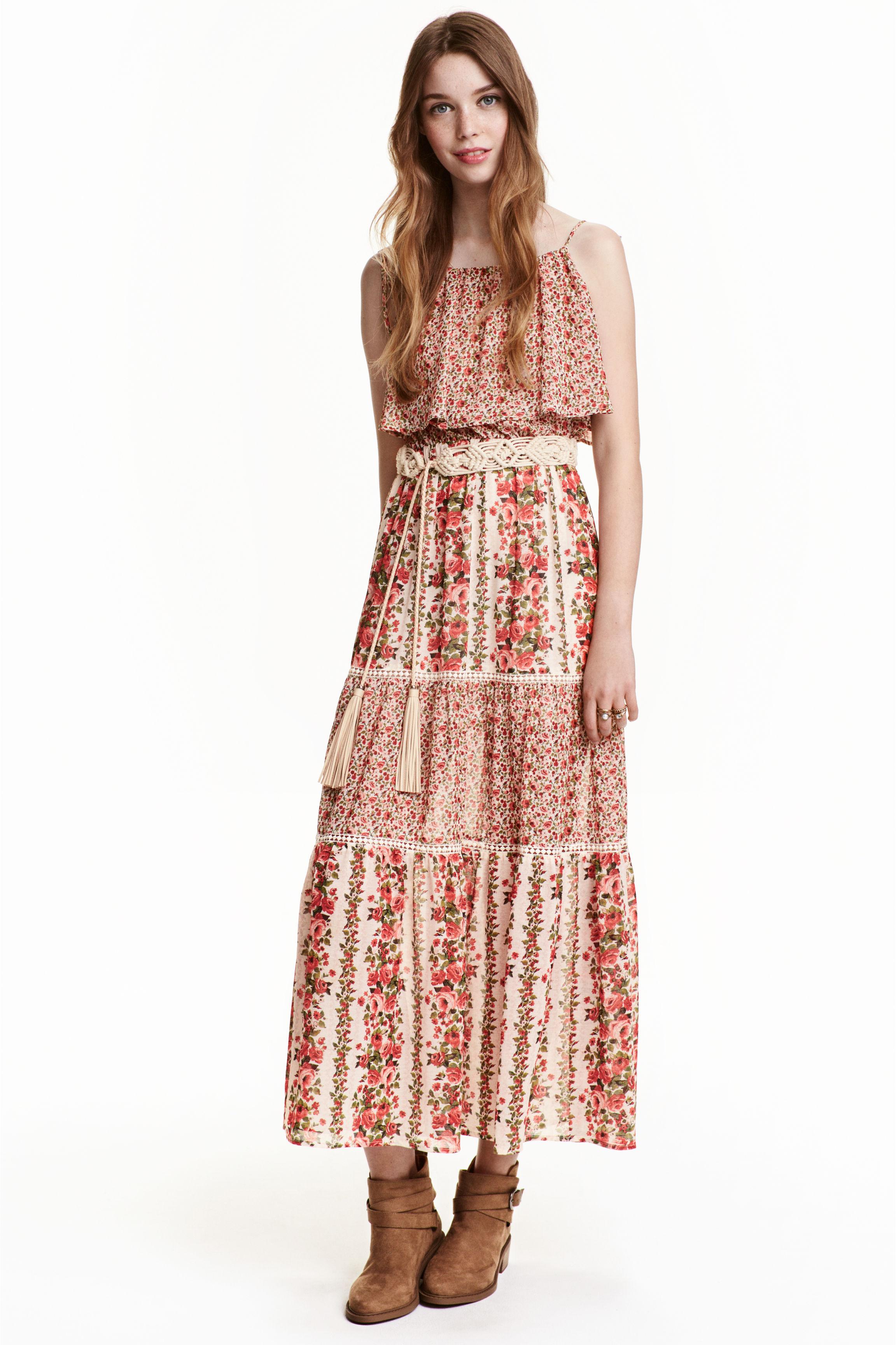 Robe hm longue mousseline imprime fleurs differentes tailles
