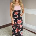 Robe longue fleurie haut rose pale uni avec jeu de ceinture