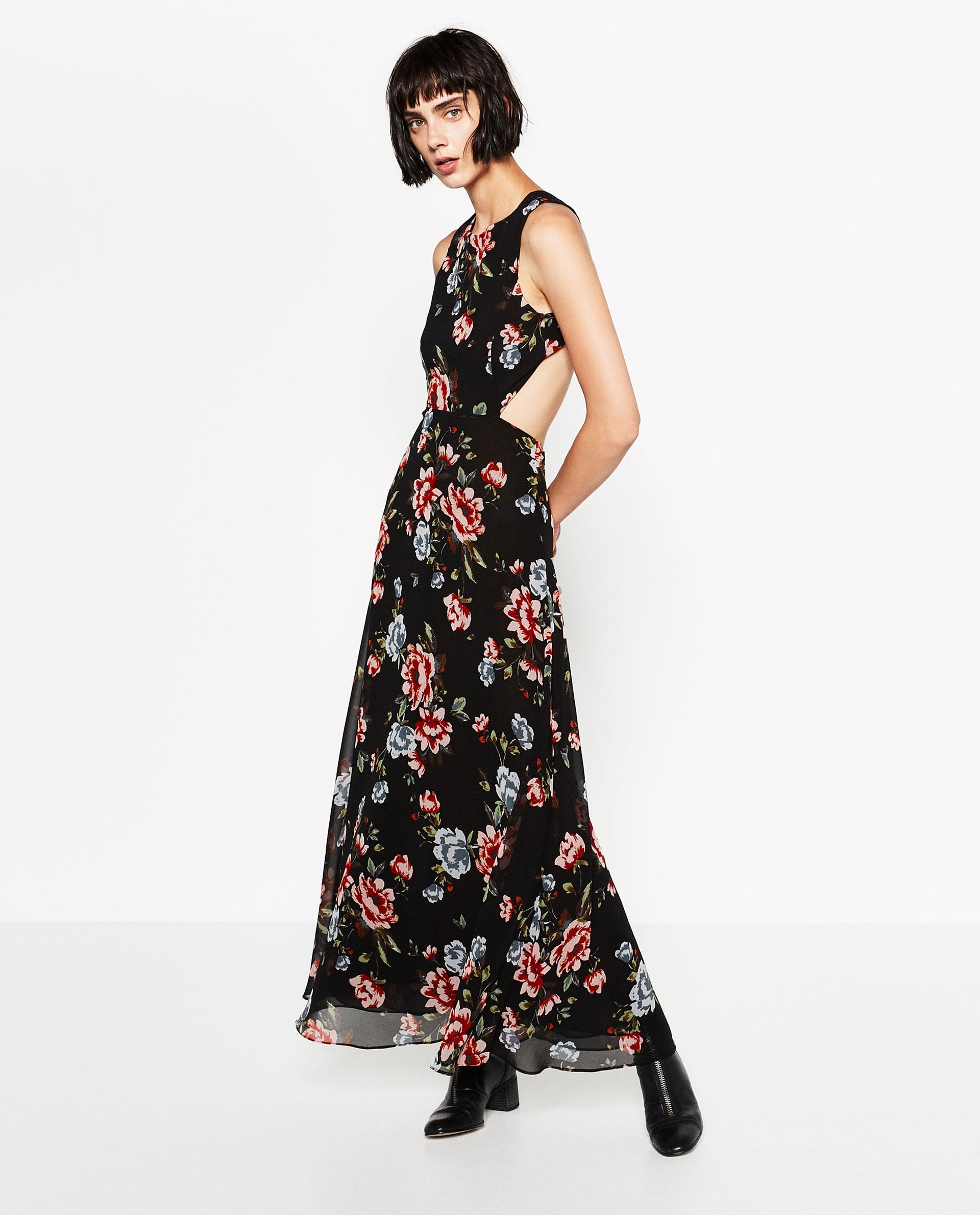 Robe longue zara decoupe fond noir et motif floral