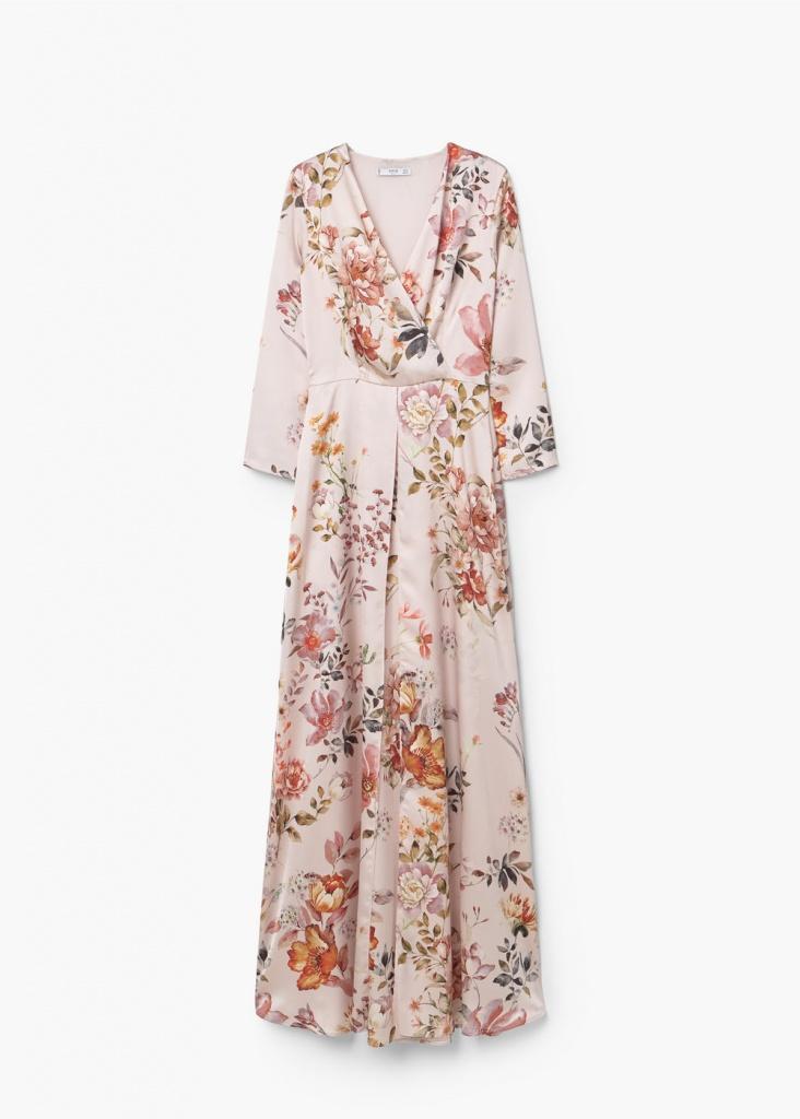Robe mango florale longue manche trois quart