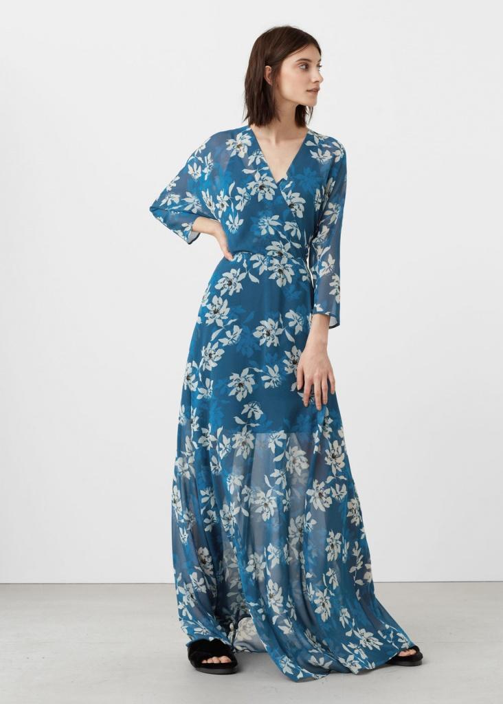 marque célèbre Découvrez regarder Robe mango longue cache coeur bleu fluide - la robe longue