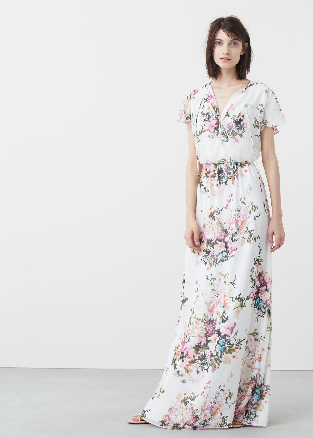 Robe mango longue manche courte blanche imprime fleurs