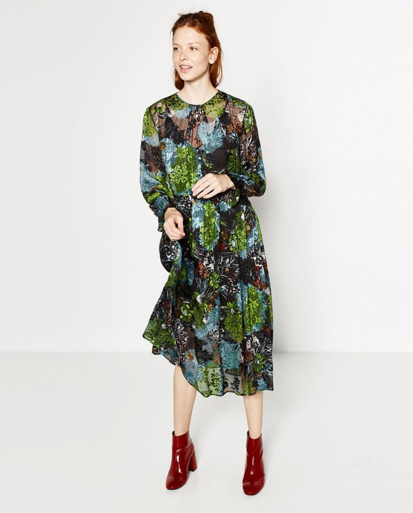 Robe zara longue a fleurs ras de cou imprime original