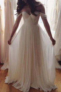 Robe blanche en mousseline longue pour mariee